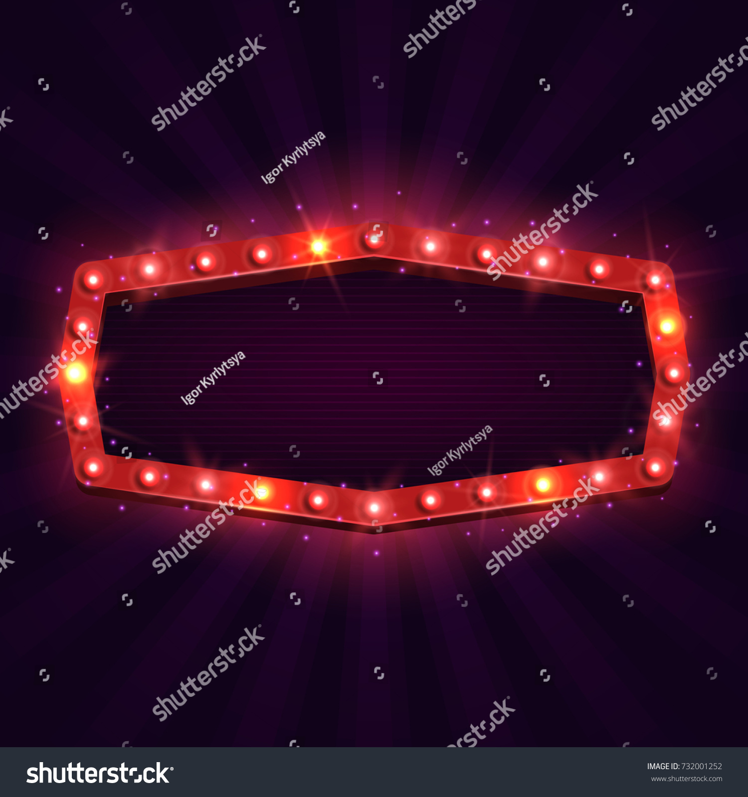 Shining retro billboard. Vintage bright sign board for your design. Vector illustration. #732001252