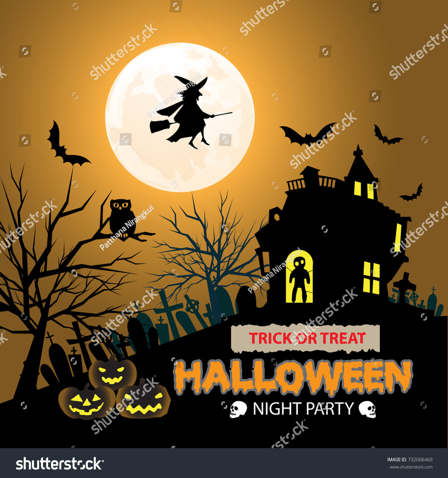 Happy Halloween Night Party Orange Moon Design For Holiday Festival Vector  Illustration.