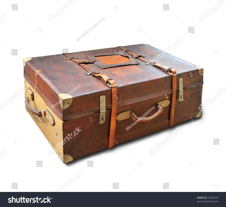 vintage weathered leather suitcase used back stock photo 73202026 shutterstock. Black Bedroom Furniture Sets. Home Design Ideas