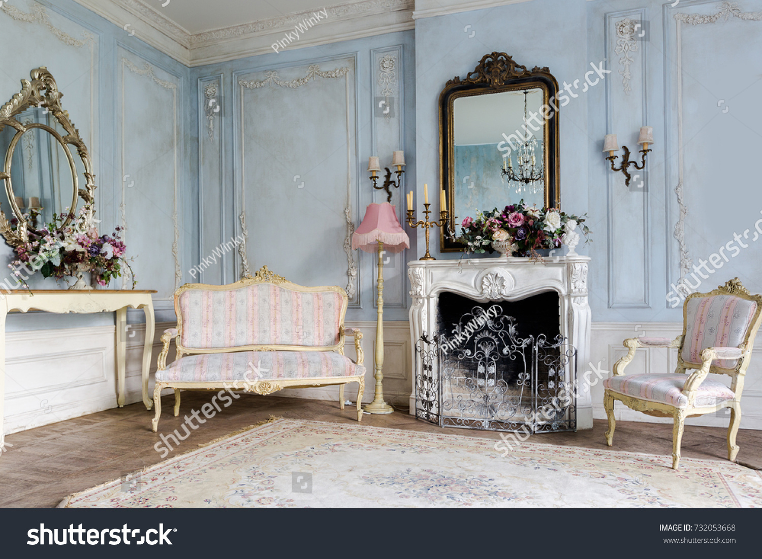 Cozy Interior Living Room Chic Beautiful Royalty Free
