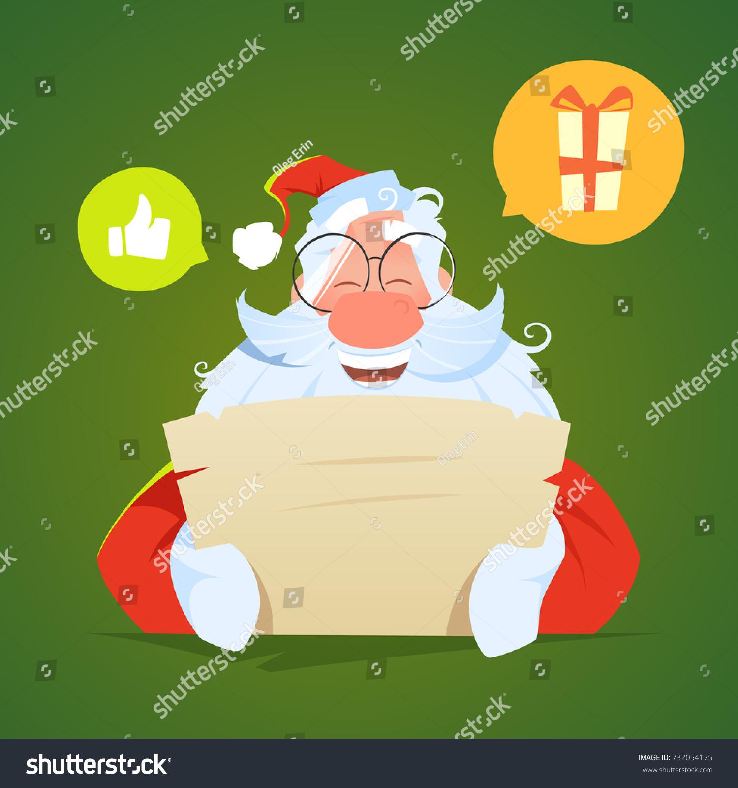 Happy Smile Santa Claus Reading Letter Stock Vector (2018) 732054175 ...