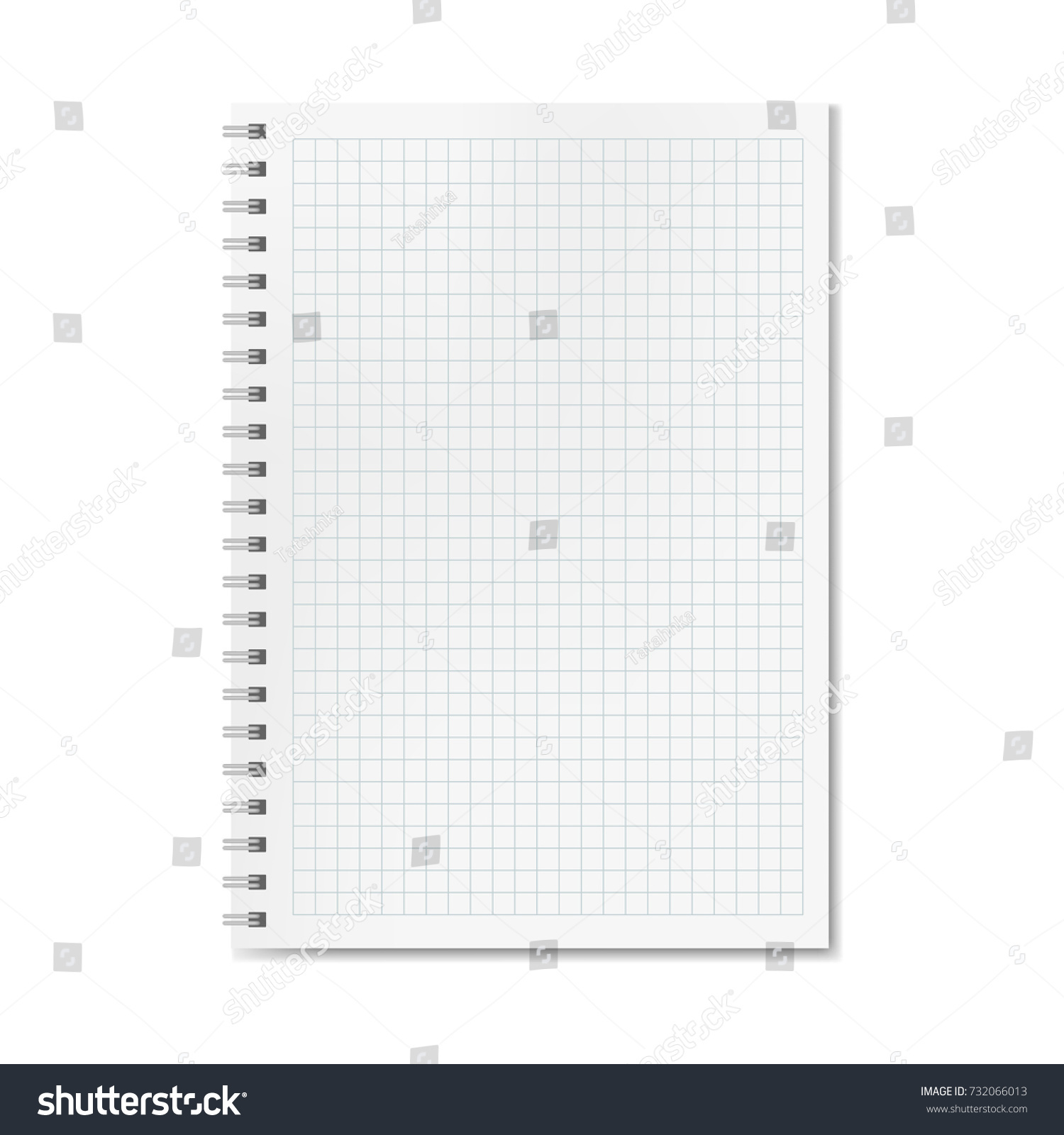 vector realistic quadrille or graph ruled notebook copybook with blank quad paper on metallic ring