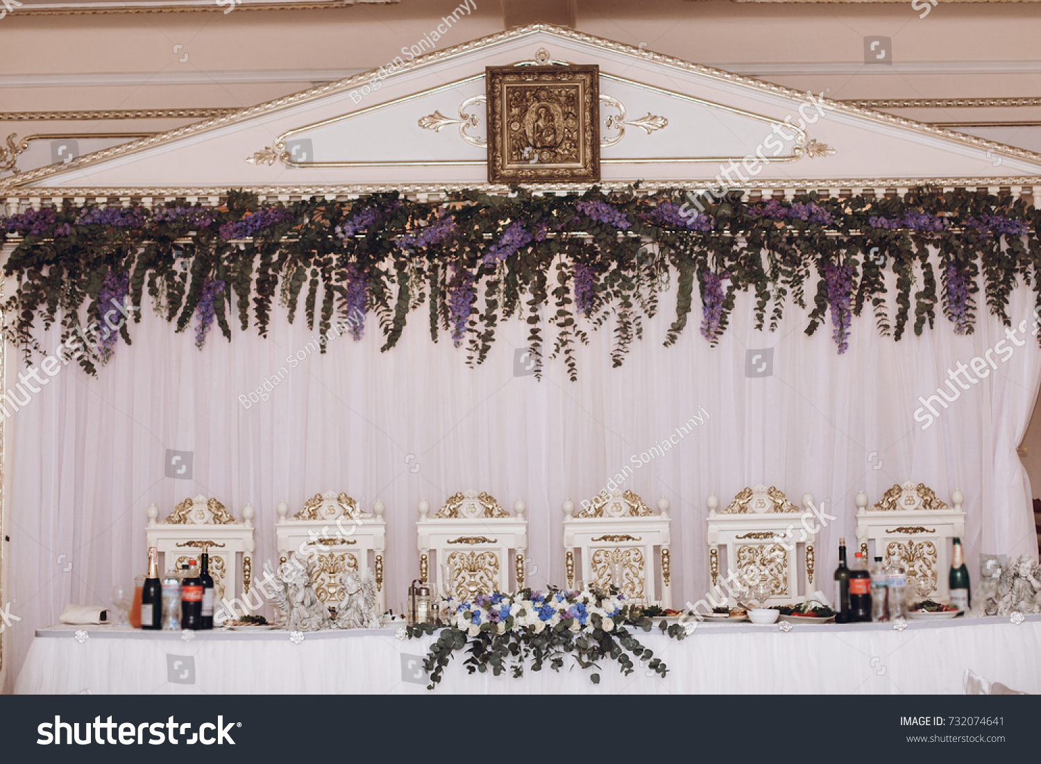 Luxury Decorated Wedding Centerpiece With Purple Flowers. Arrangement For  Bride And Groom, Table With