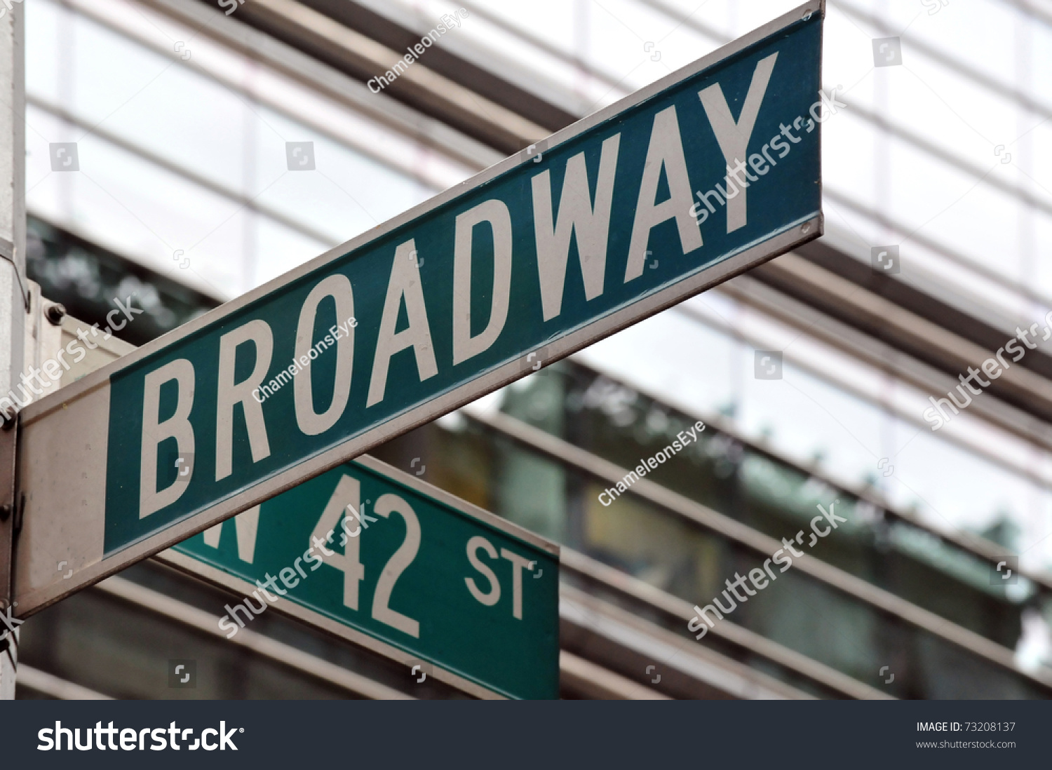 Street Sign On The Corner Of Broadway And 42nd Street In ...