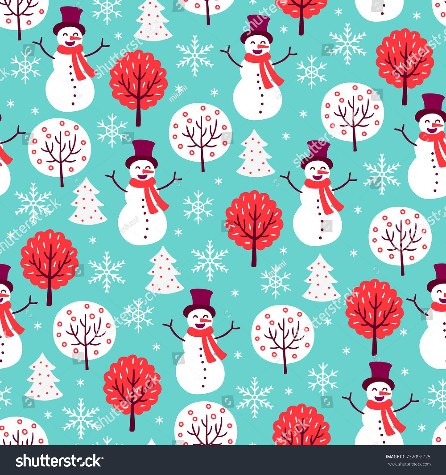 Blue Christmas Tree Wallpaper: Christmas Seamless Pattern Snowman Tree Snowflake Stock
