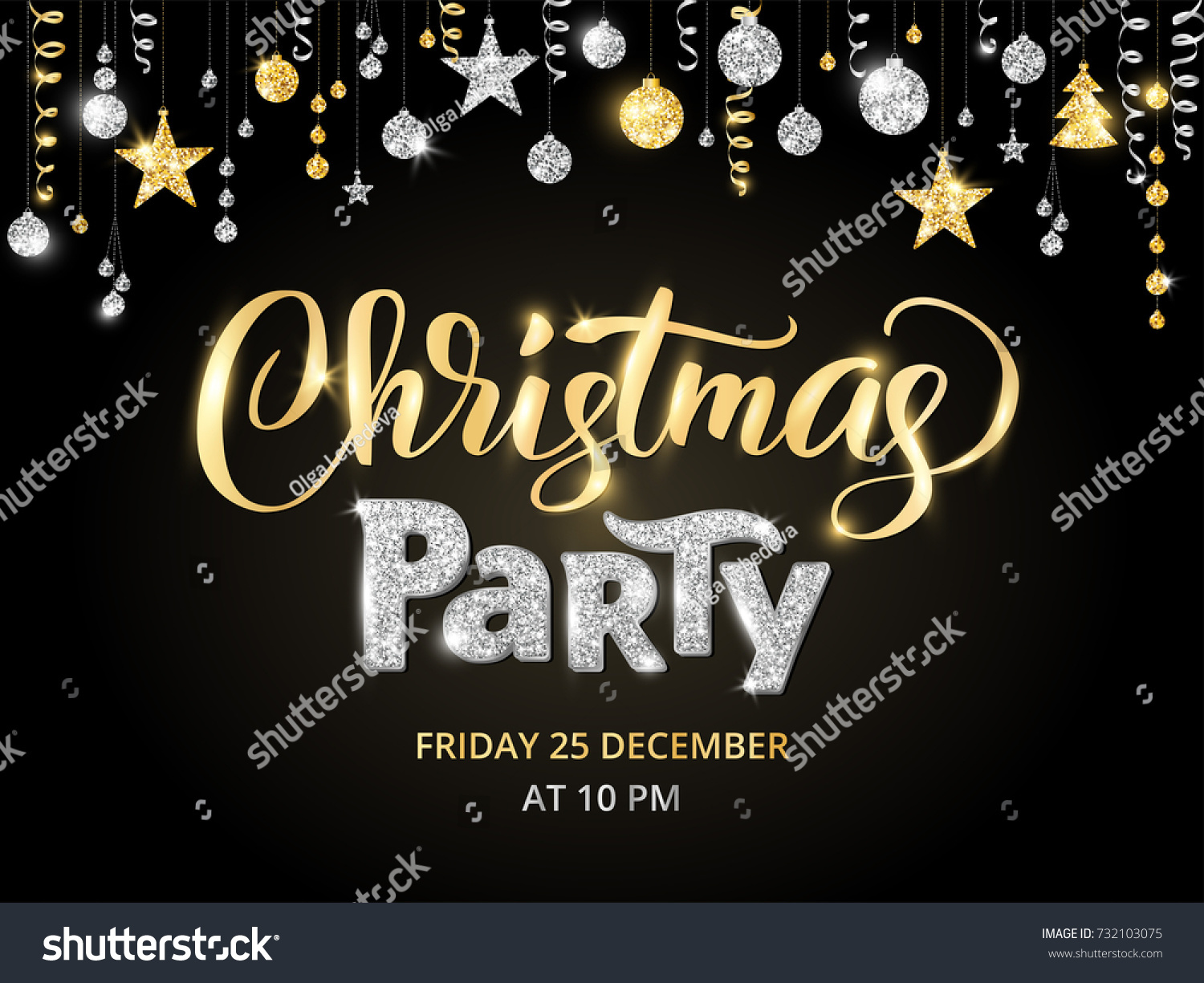 christmas party poster template gold and silver on black hand written lettering sparkling