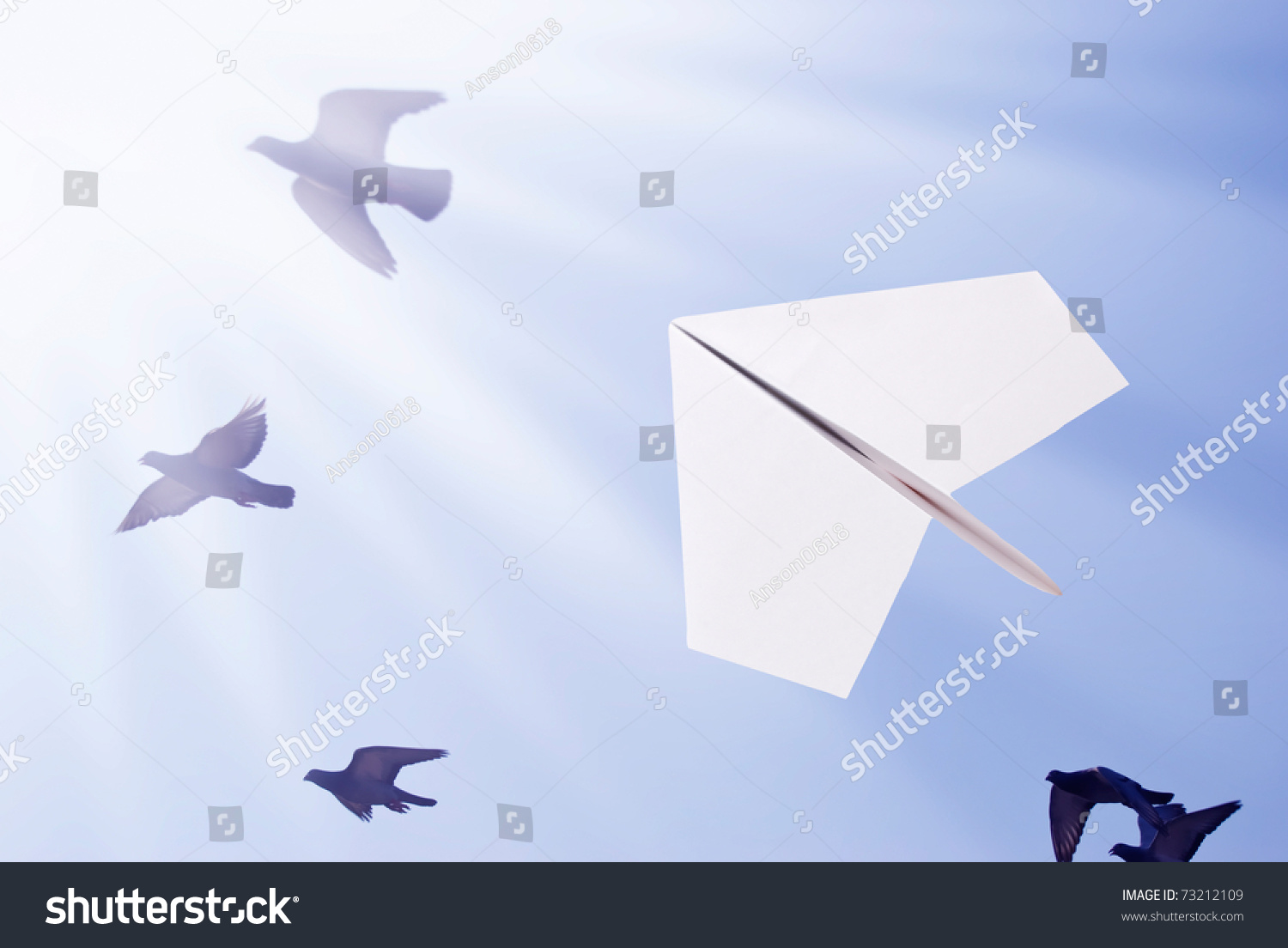 Stock Photo Paper Airplane Flying With Birds Toward To The Sun