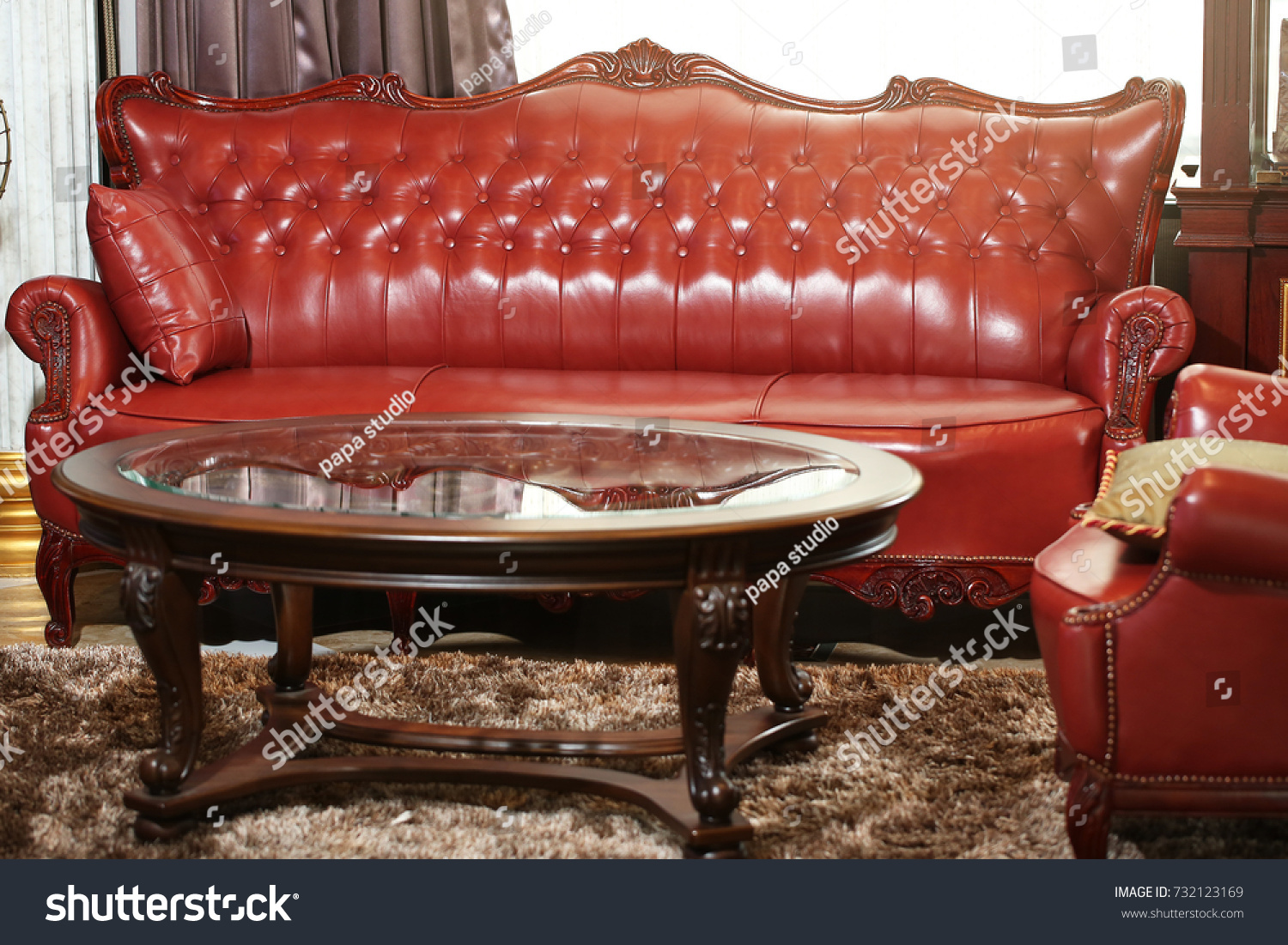 Leather Sofa Vintage Style Room Stock Photo 732123169 Shutterstock ~ Leather Sofa Vintage Style