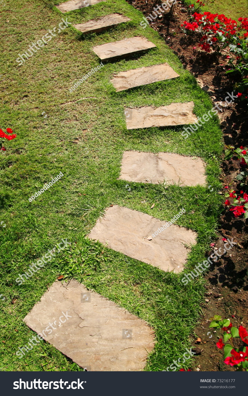 Stone walk way in garden stock photo 73216177 shutterstock for Landscaping rocks you can walk on