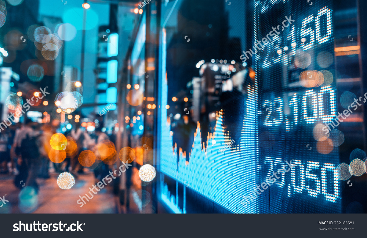 Display of Stock market quotes with city scene reflect on glass #732185581