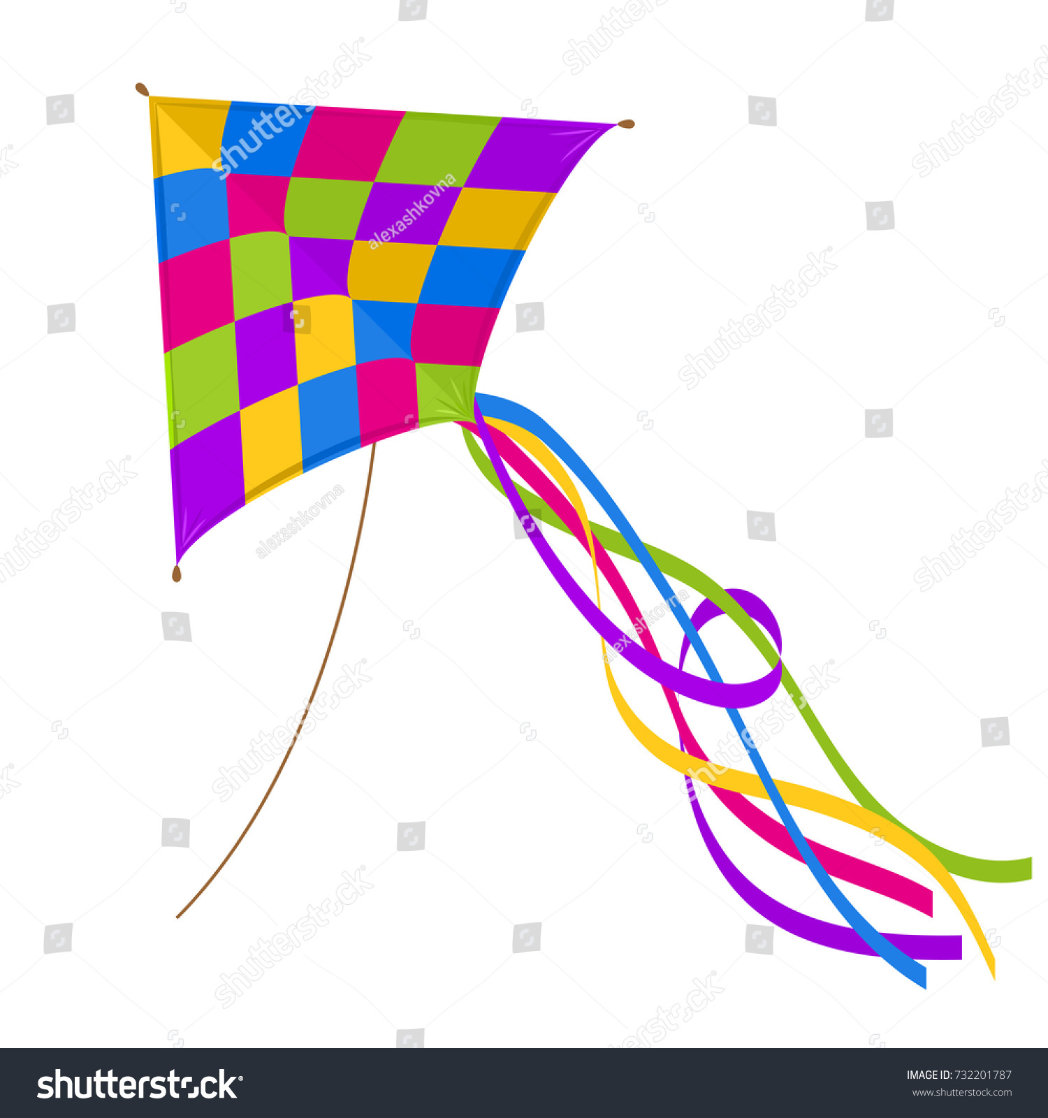 Colorful Kite Isolated On White Background Stock Vector Royalty