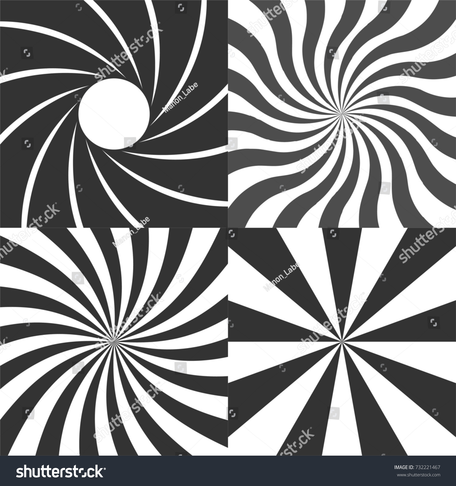 Psychedelic retro spiral black and white backgrounds vector set, radial rays vintage backdrop, radial lens aperture, wavy spinning stripes variants.