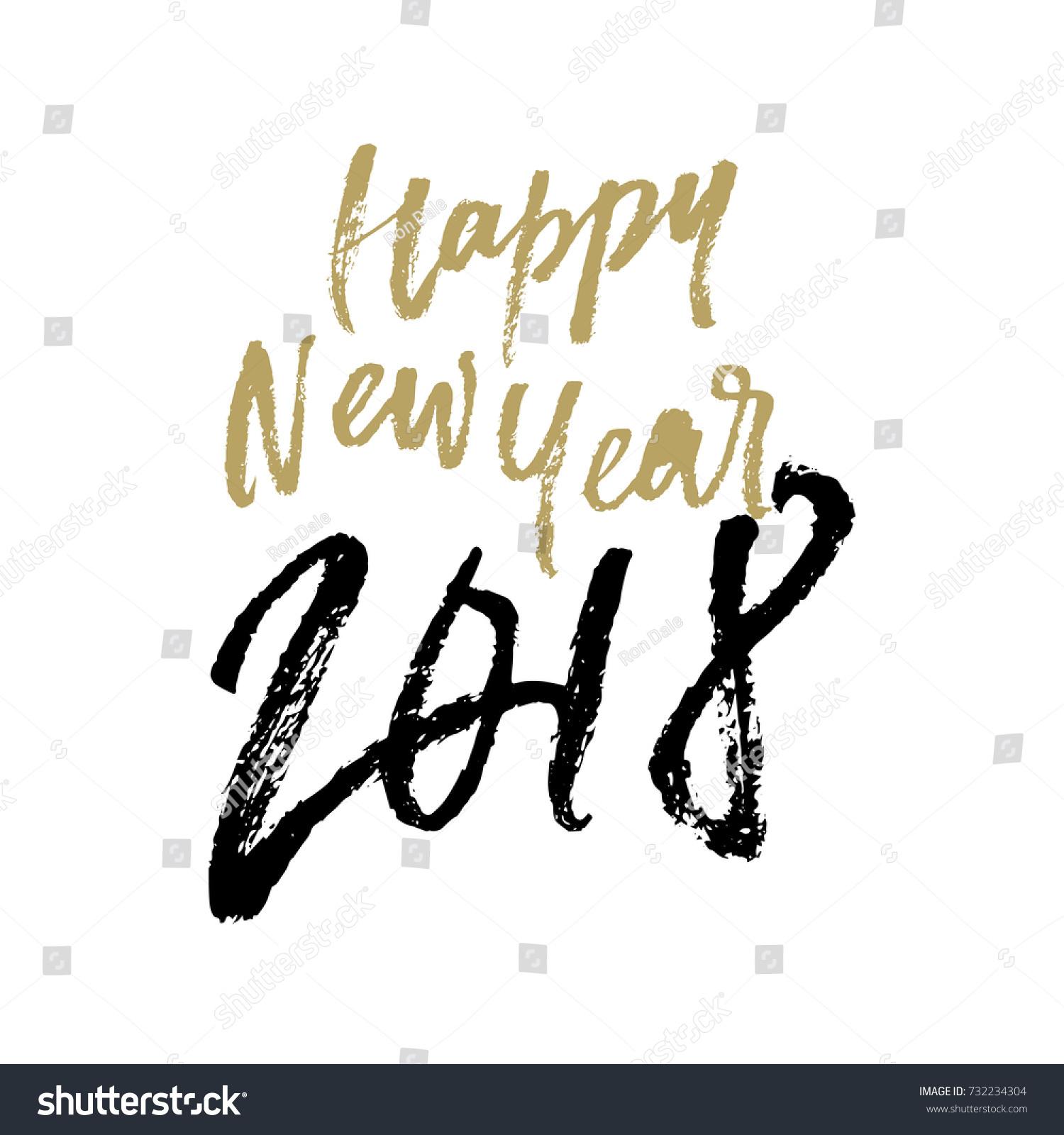 Happy new year calligraphy hand stock vector