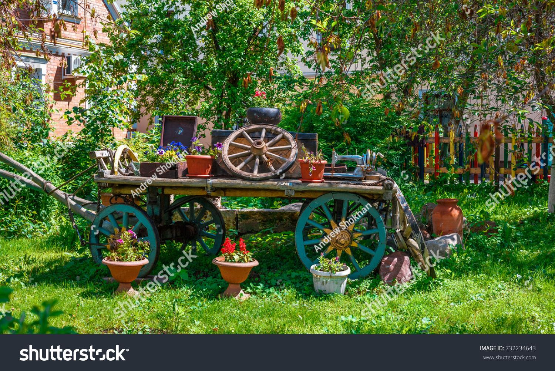 Panoramic View Decorative Cart Decorated Pots Stock Photo 732234643 ...