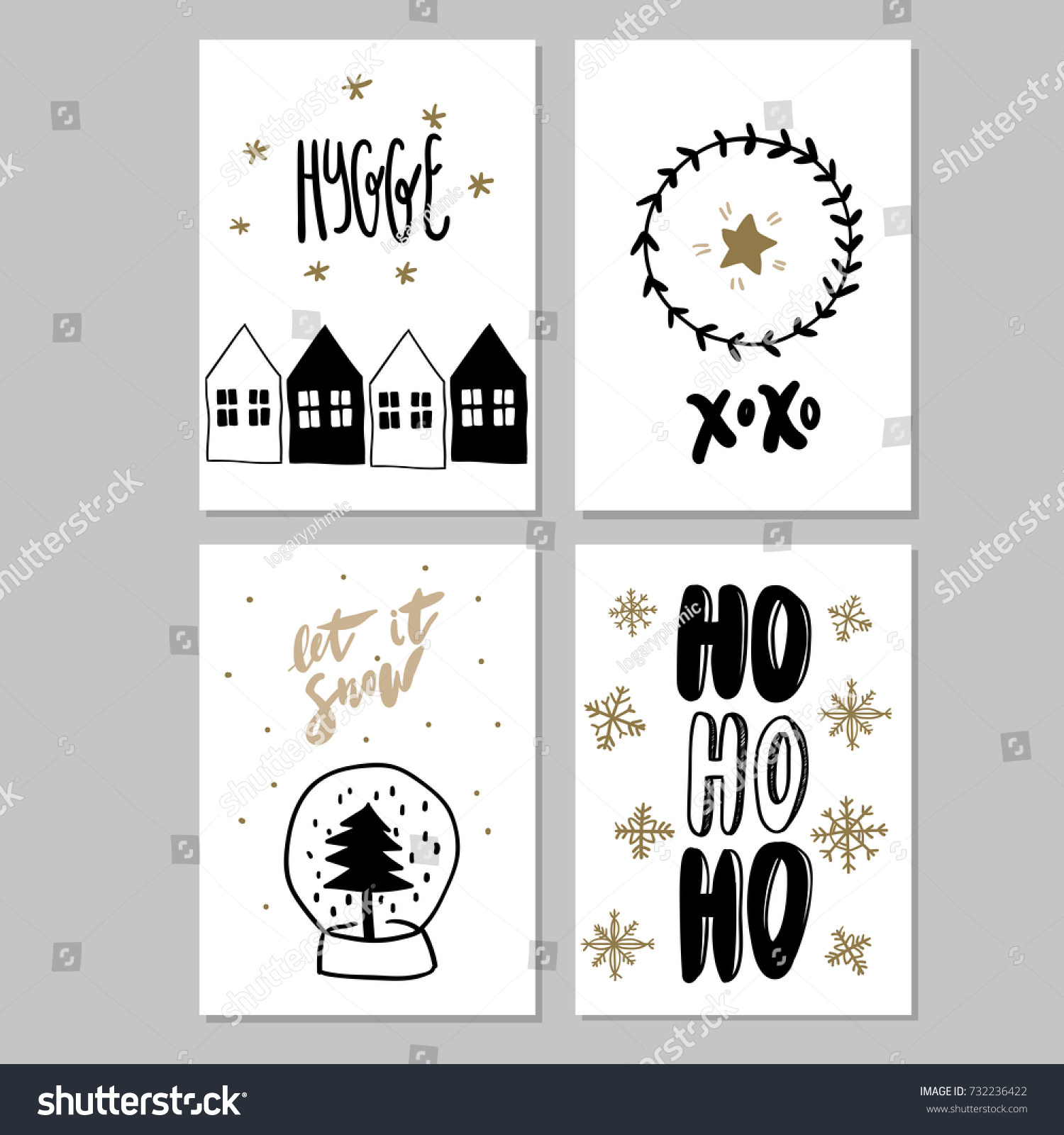 Set Doodle Christmas Greeting Cards Vector Stock Vector Royalty
