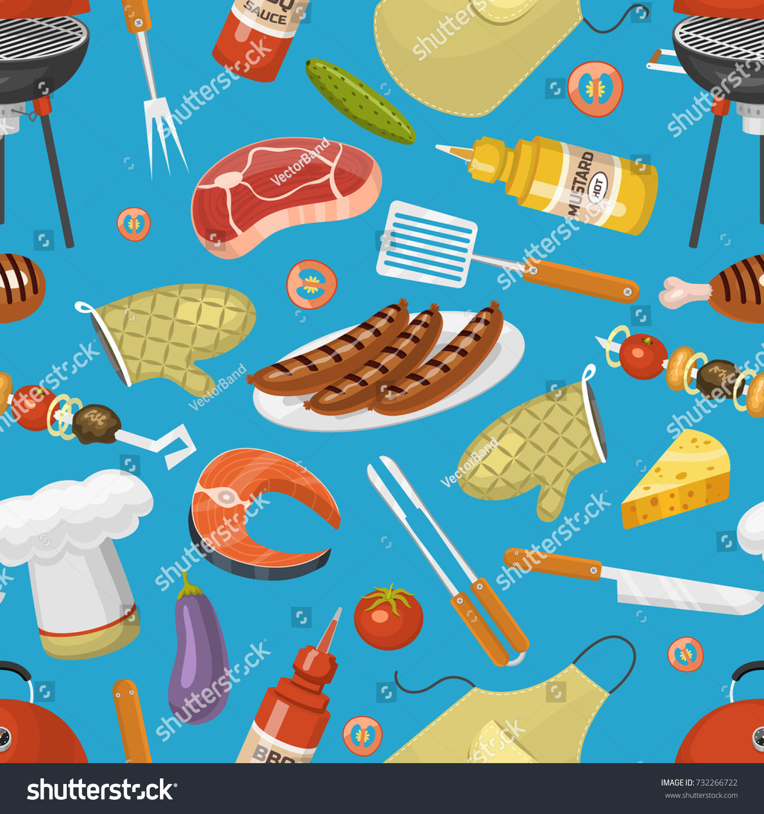 Barbecue Party Products BBQ Grilling Kitchen Stock Vector 732266722 ...