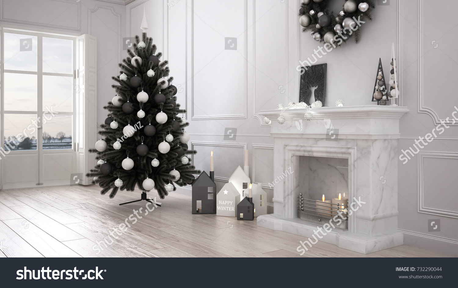 Classic Living Room Big Window Fireplace Stock Illustration ...