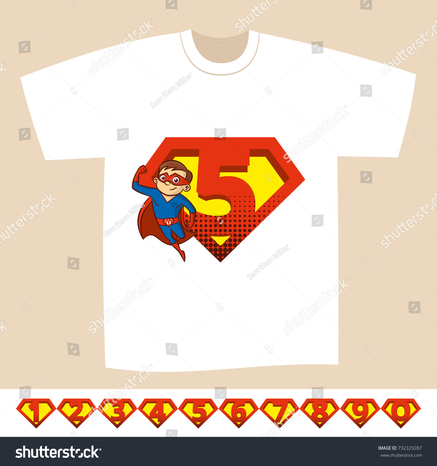 Numeral 09 Superhero Logo Tshirt Kids Stock Vector Royalty Free 732329287