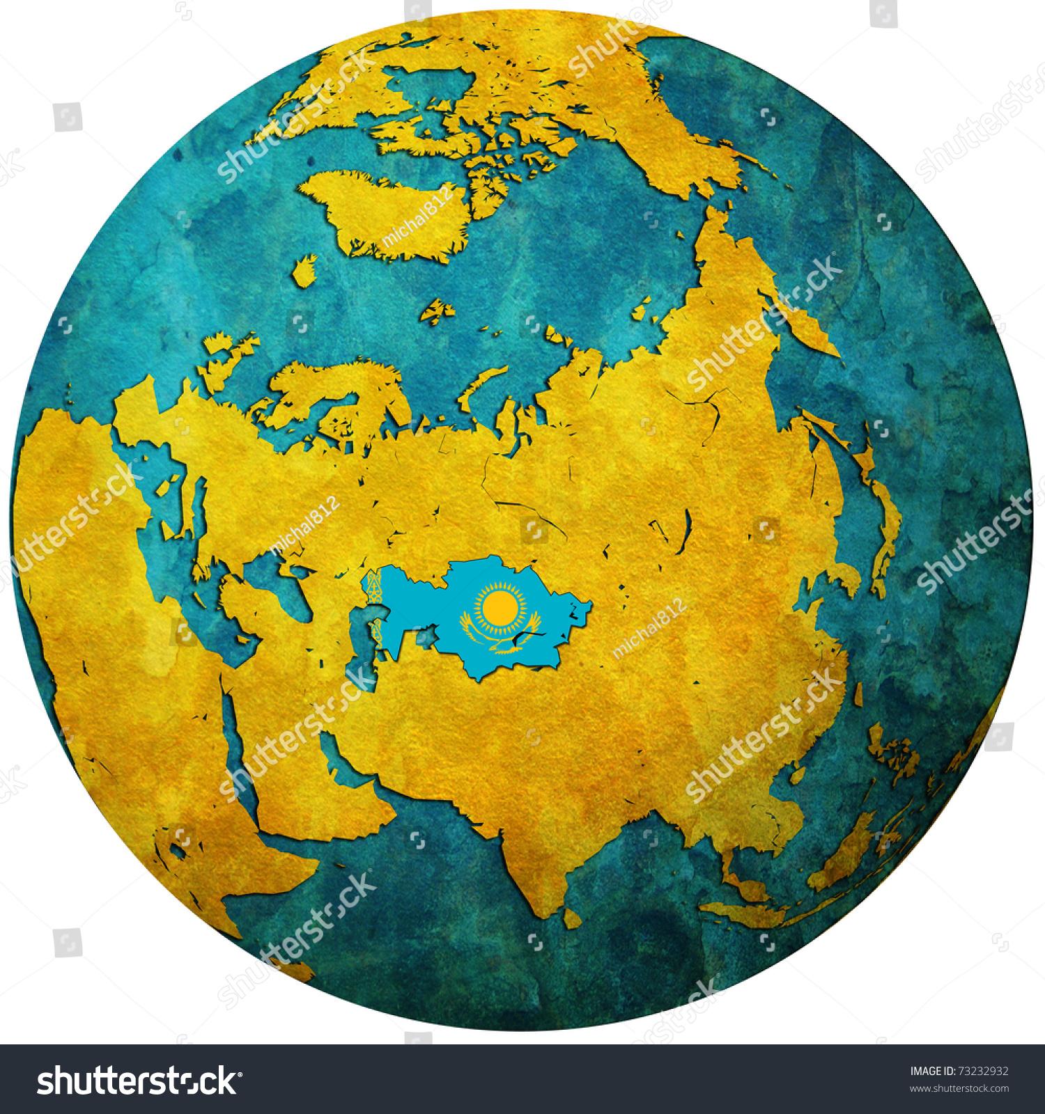 Kazakhstan Territory With Flag On Map Of Globe Stock Photo ...