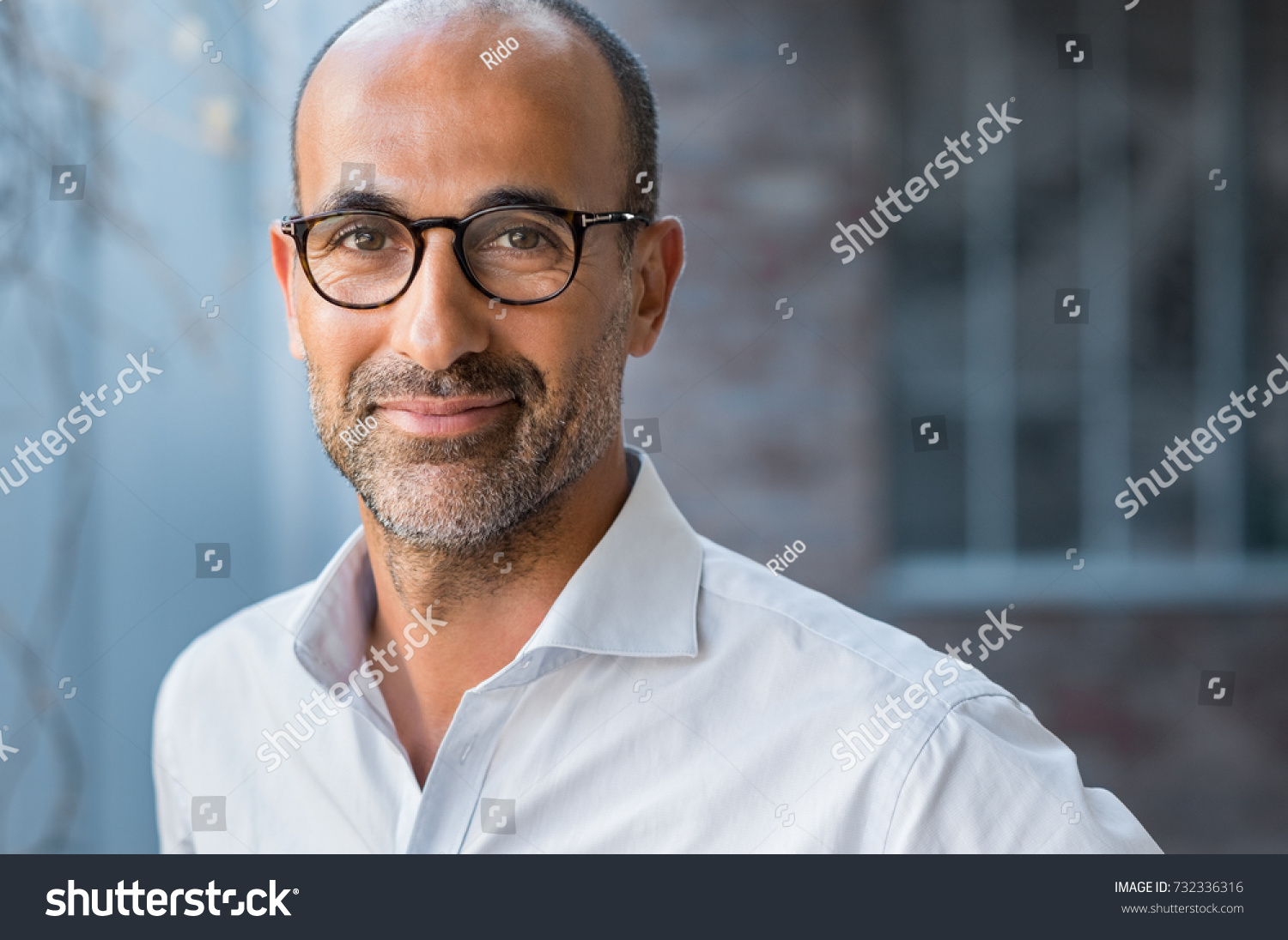 Portrait of happy mature man wearing spectacles and looking at camera outdoor. Man with beard and glasses feeling confident. Close up face of hispanic business man smiling. #732336316 - 123PhotoFree.com