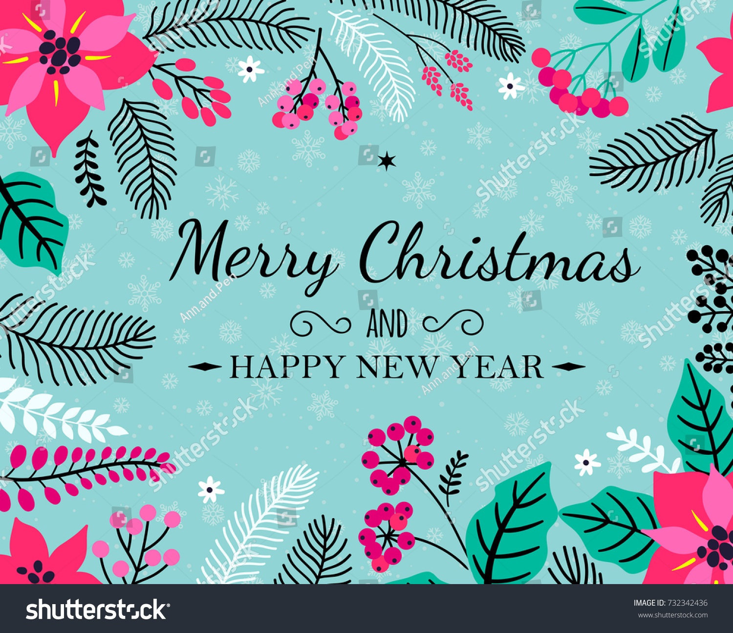 Merry christmas happy new year holiday stock vector 732342436 merry christmas and happy new year holiday greeting card sample card beautiful winter floral ornament kristyandbryce Images
