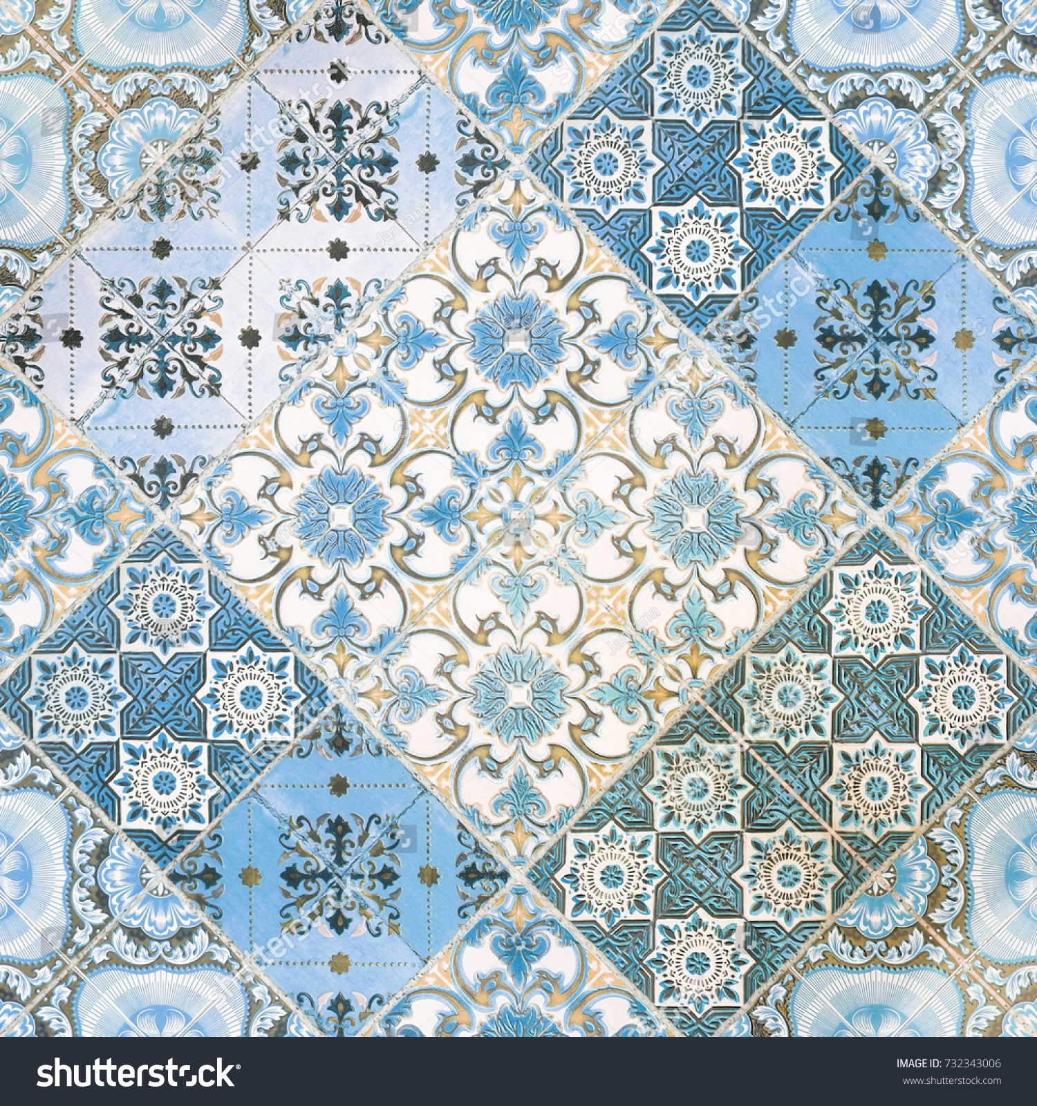 Beautiful Old Ceramic Tile Wall Patterns Stock Photo (Royalty Free ...
