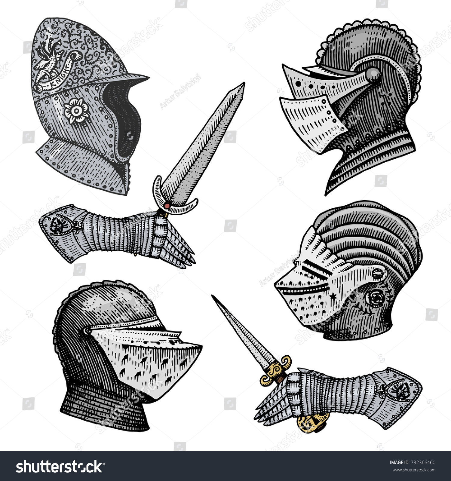 Set medieval symbols battle helmets knights stock vector 732366460 set of medieval symbols battle helmets for knights or kings vintage engraved hand drawn biocorpaavc Images