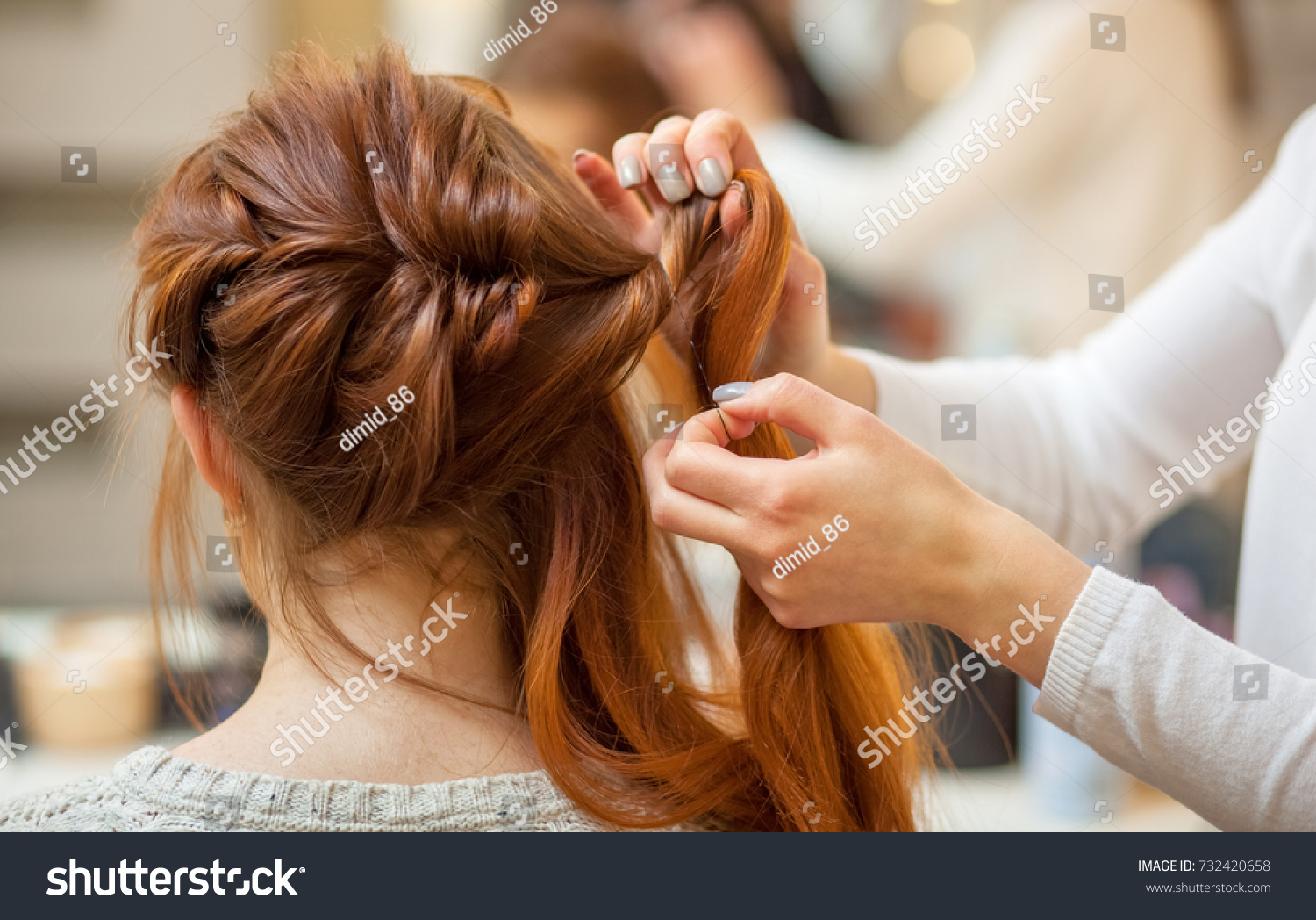 Beautiful Redhaired Girl Long Hair Hairdresser Stock Photo Download