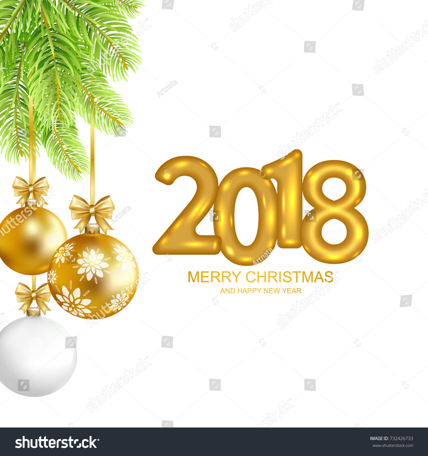 2018 Merry Christmas Happy New Year Stock Vector (Royalty Free ...