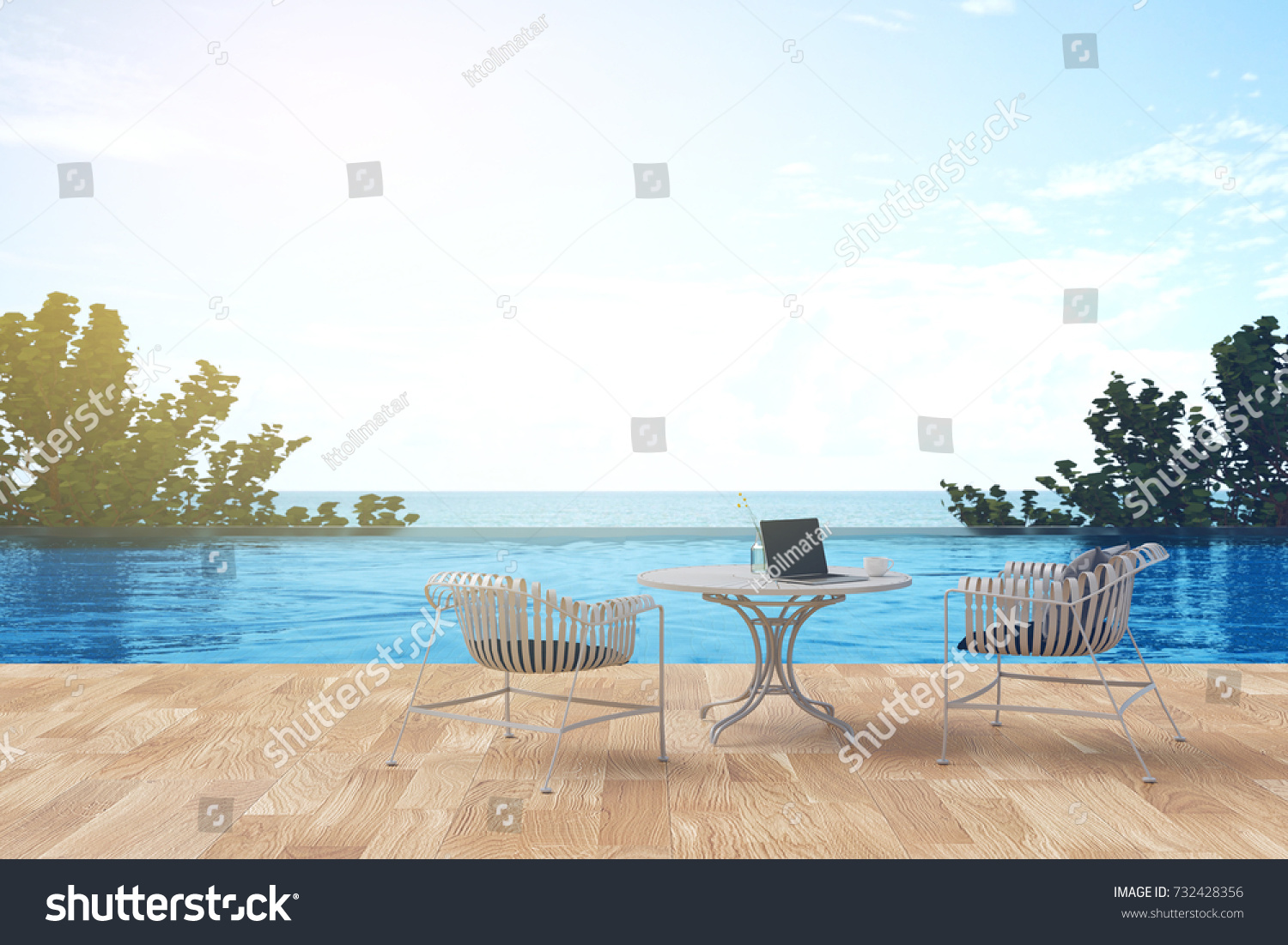 3D Rendering : Illustration Of A Beach Patio Outdoor. Sun Loungers On  Private Deck And