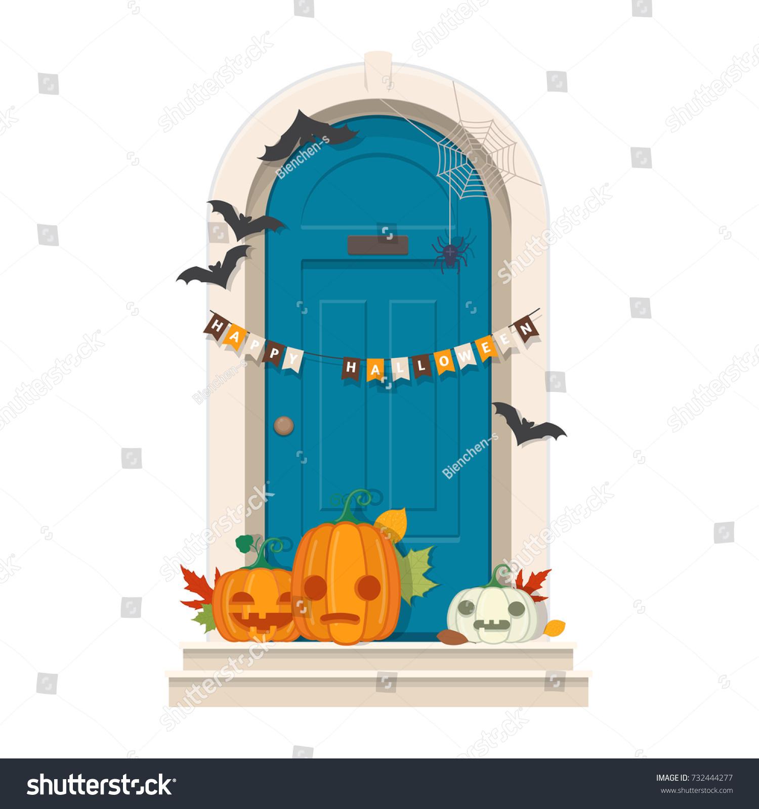 Halloween Door Decorations Front Door Halloween Stock Vector