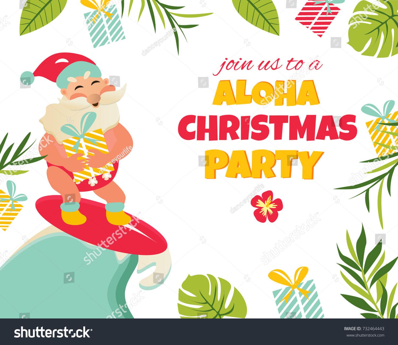 party invitation tropical background aloha santa stock vector