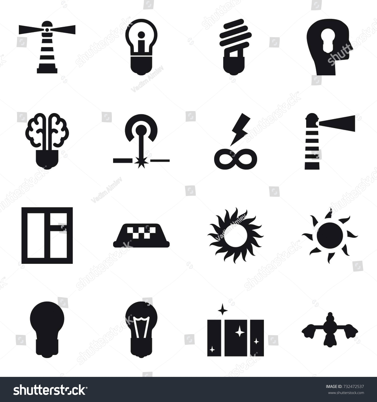 16 Vector Icon Set Lighthouse Bulb Stock Vector 732472537 - Shutterstock for Power Window Symbol  156eri
