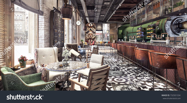 Concept Design Modern Restaurant Lounge Bar Stock Illustration ...