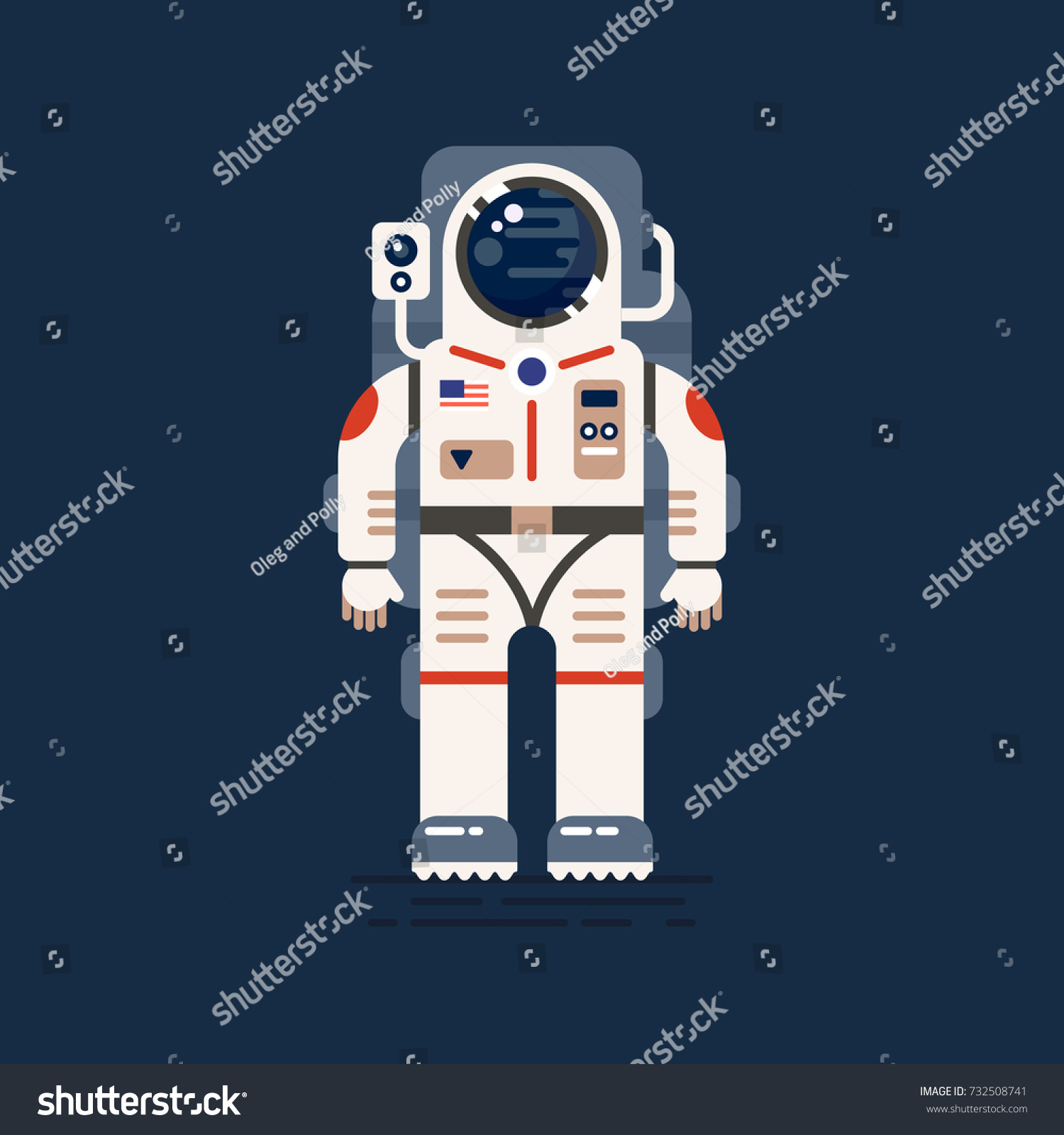 Detailed Front Viewof Astronaut Ready Go Stock Vector ...