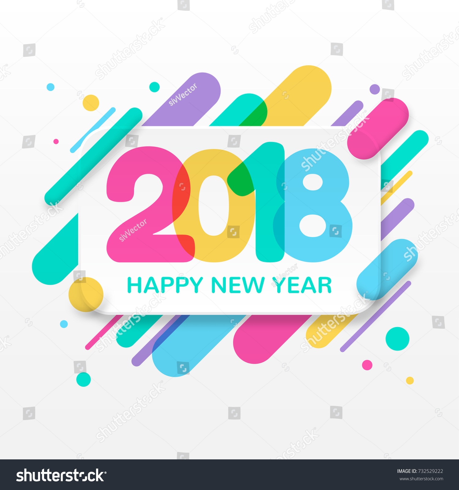 2018 happy new year greeting card stock vector 732529222