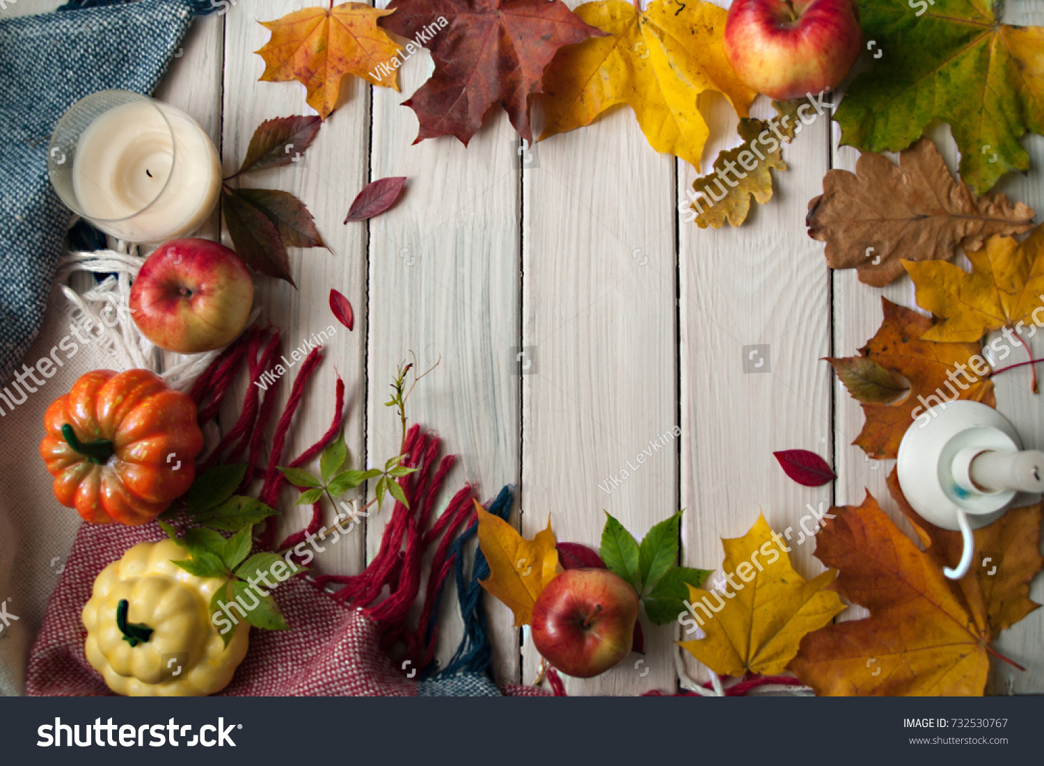 Vintage Autumn Border From Fallen Leaves On The Old Wooden Table Thanksgiving Background