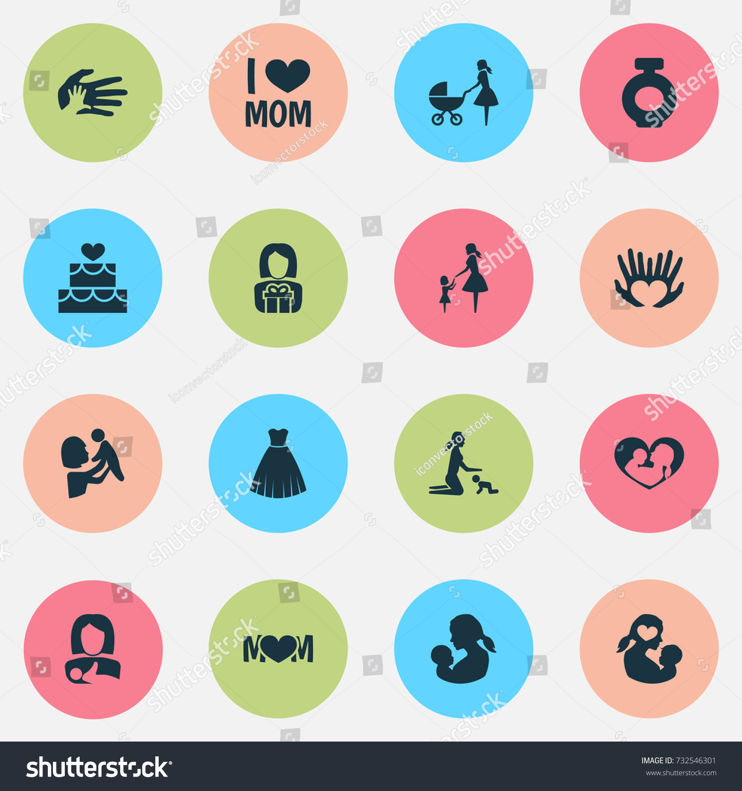 Mothers day icon design concept set stock vector 732546301 set of 16 such elements as stroller evening gown buycottarizona