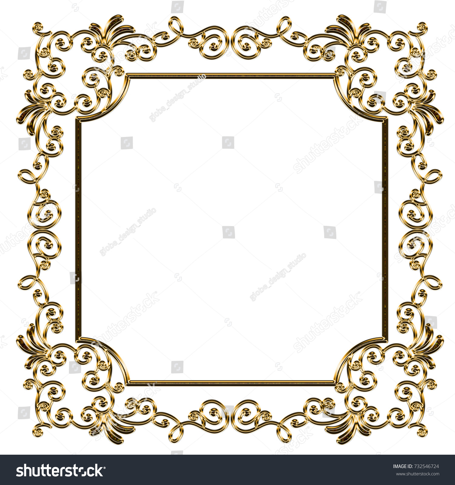 Baroque Frame Metal Texture Ornament Background Stock Illustration ...