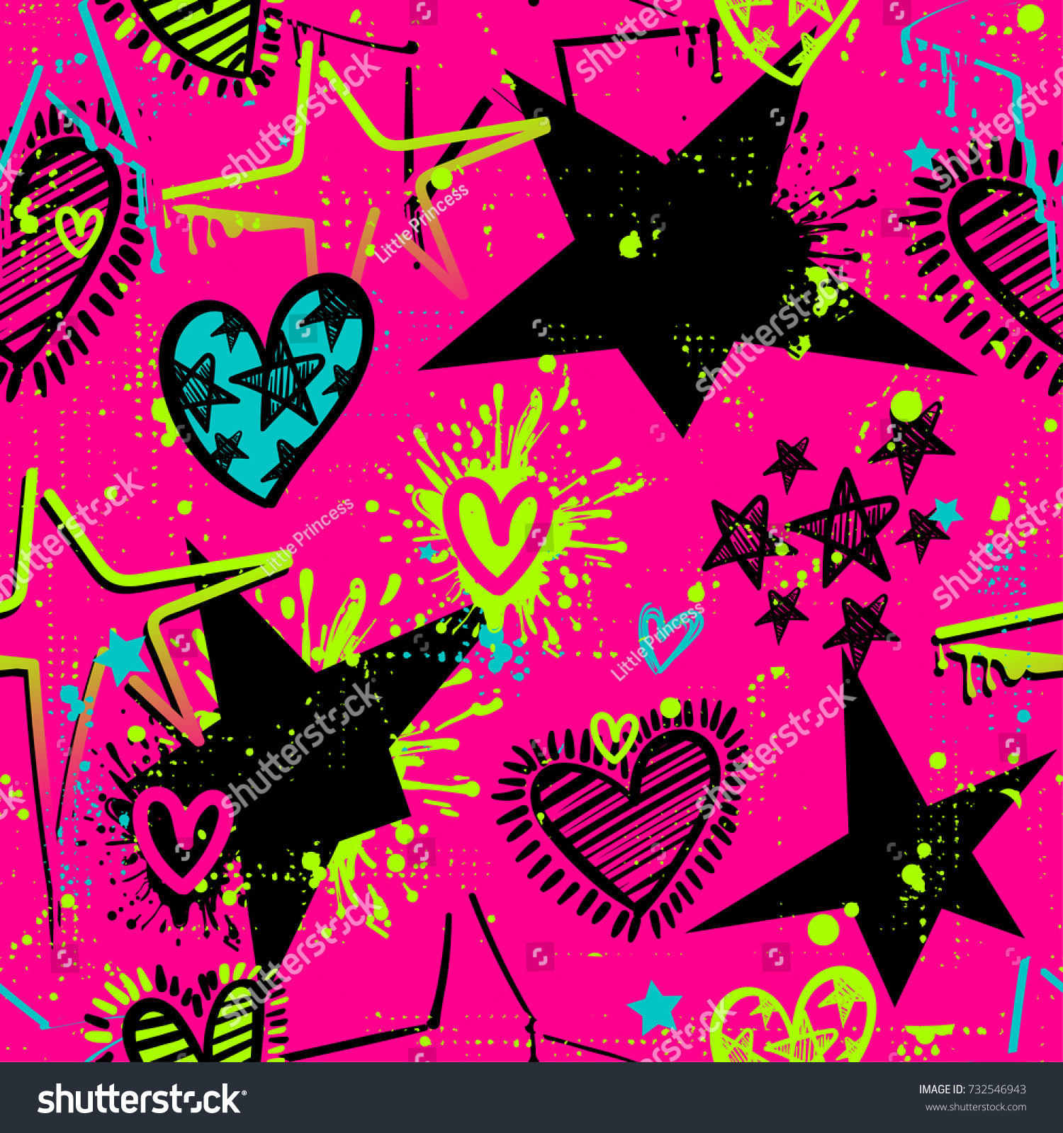 Abstract seamless stars and hearts pattern on pink background with bright colorful shape spray paint