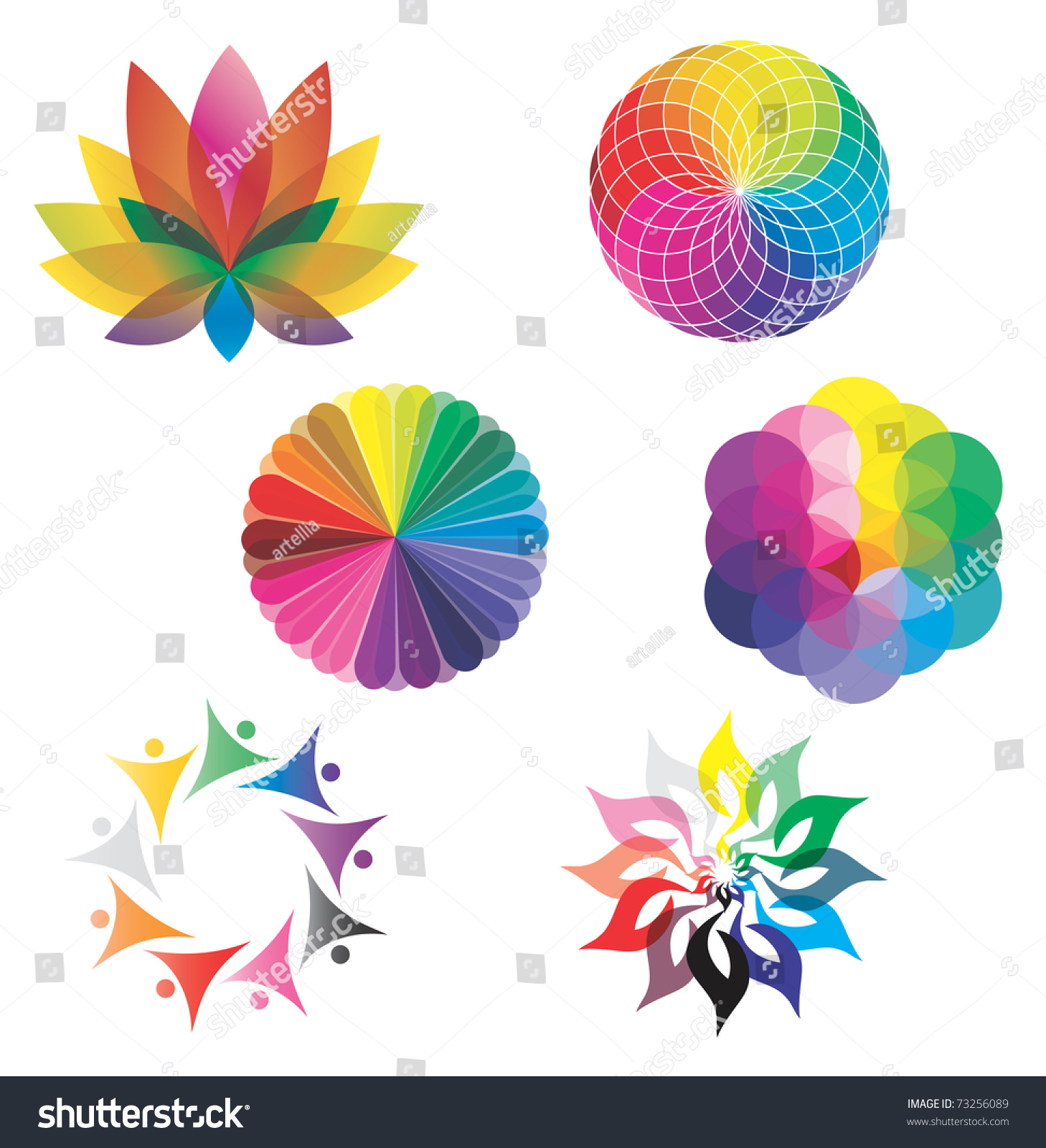 Set color wheels circles lotus flower stock vector royalty free set of color wheels circles lotus flower flower of life in rainbow colors mightylinksfo