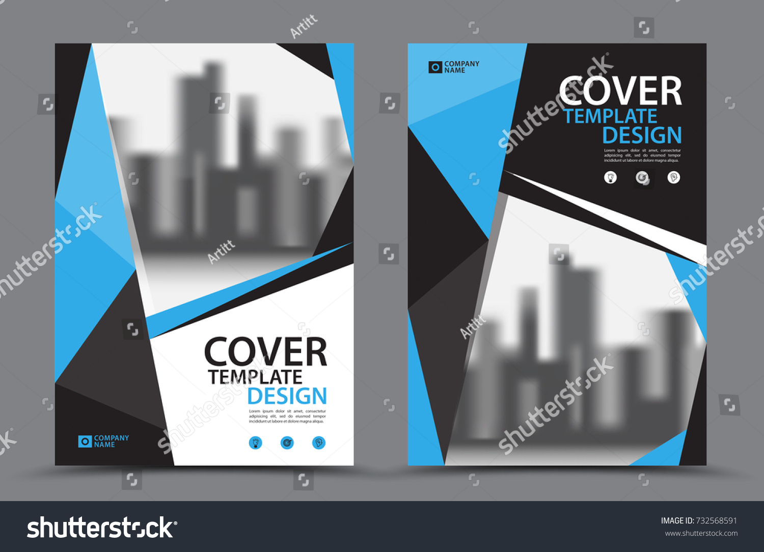Business Book Cover Design Template : Blue color scheme city background business stock vector
