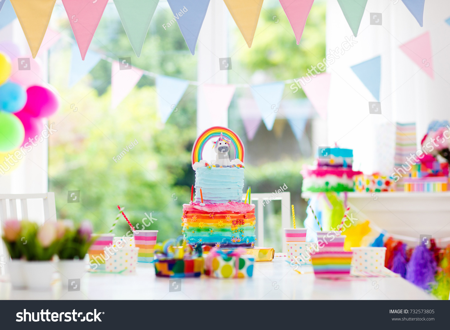 Kids Birthday Party Decoration Cake Decorated Stock Photo