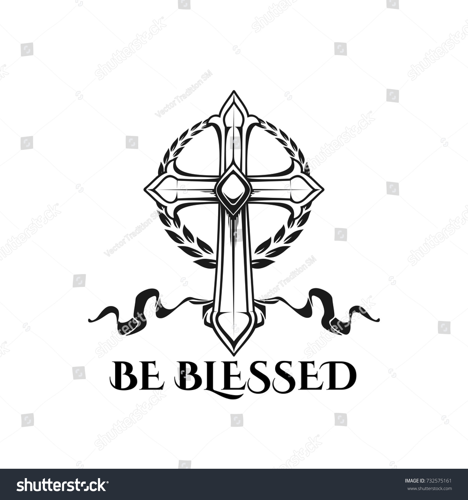 Be blessed icon catholic orthodox easter stock vector 732575161 be blessed icon of catholic or orthodox easter crucifixion cross ornament and ribbon vector design buycottarizona Images