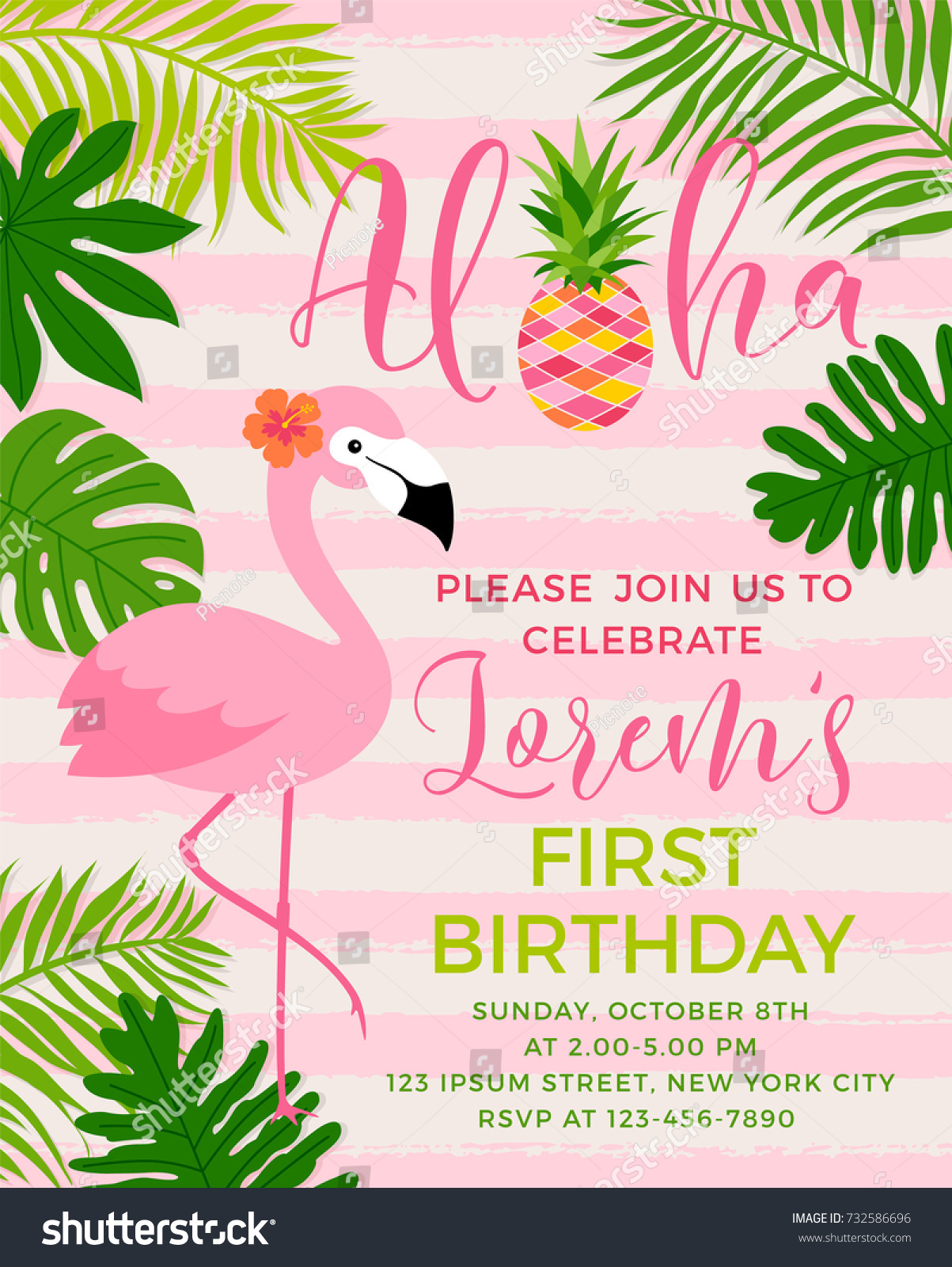 Flamingo Tropical Leaf Illustration Party Invitation Stock Vector ...