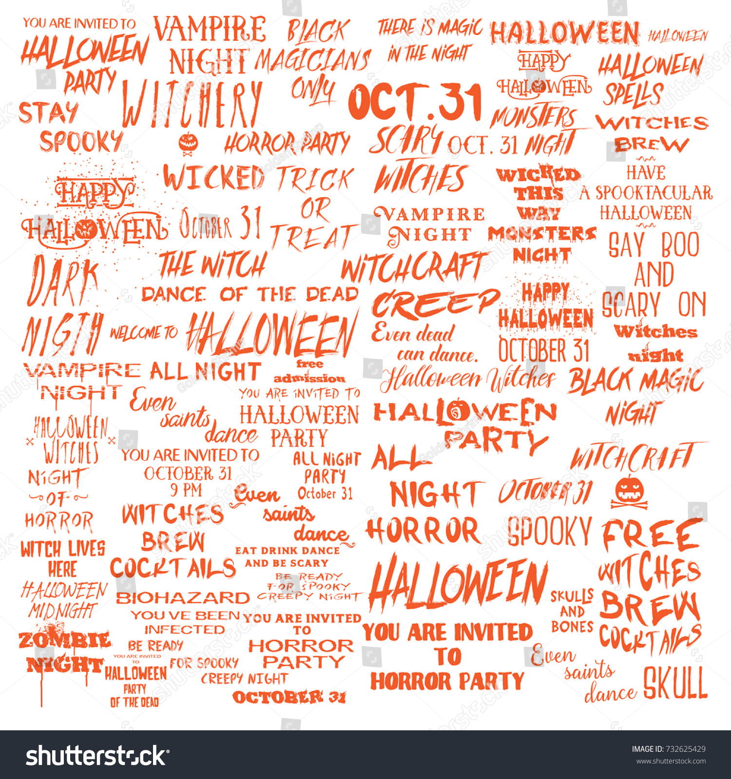 halloween lettering phrases overlay set scary stock vector (royalty