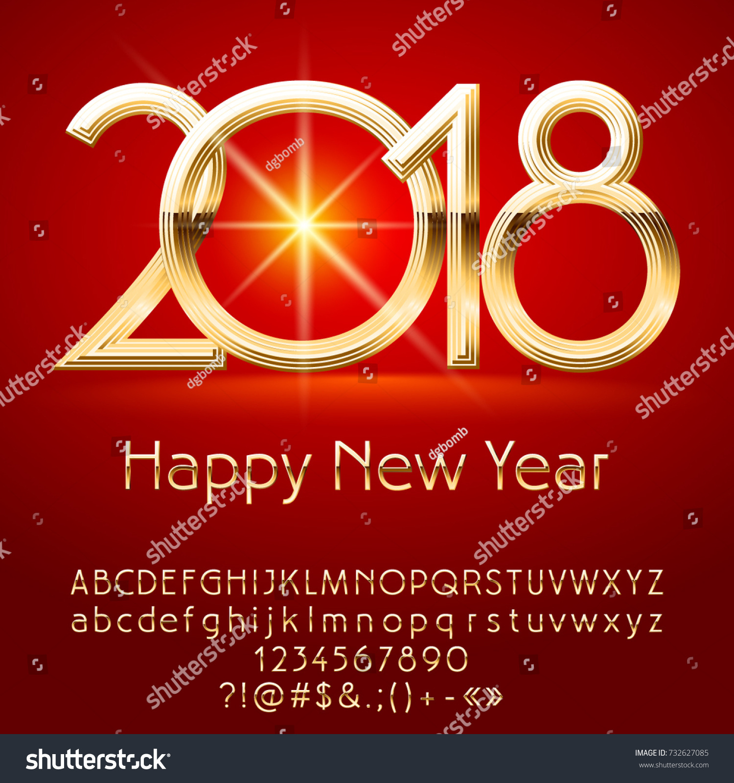 Vector exclusive happy new year 2018 stock vector 732627085 vector exclusive happy new year 2018 greeting card with alphabet set of letters symbols and m4hsunfo