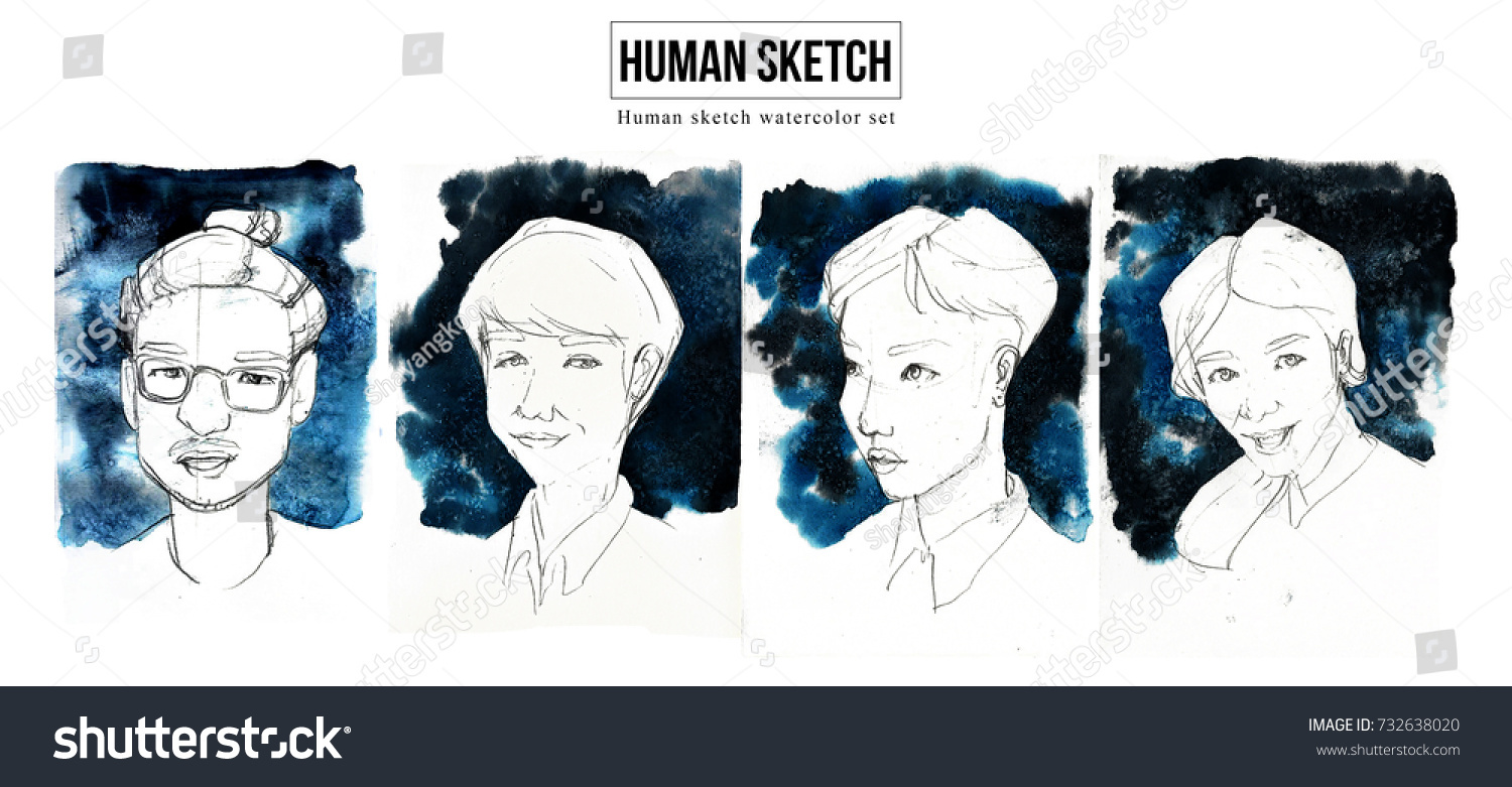 Human portrait sketch people pencil drawing watercolor illustration set