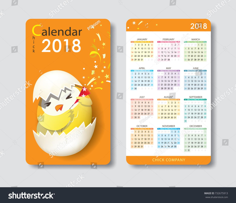 Calendar 2018 Cute Chick Character Standard Stock Photo (Photo ...