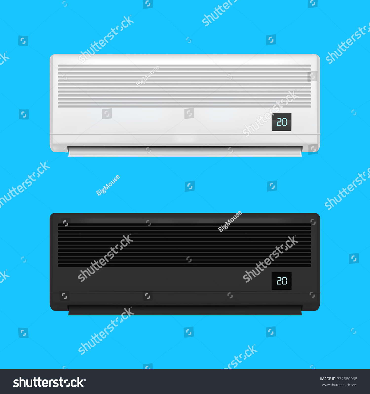 Realistic detailed air conditioner set on stock vector 732680968 realistic detailed air conditioner set on a blue background symbol of comfort climate control for biocorpaavc
